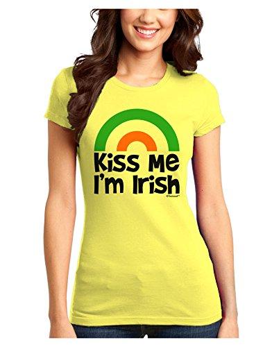 (TooLoud Irish Flag Rainbow - Kiss Me I'm Irish Juniors T-Shirt - Yellow - XS)