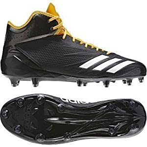 Adidas Adizero 5Star 6.0 Mid Cleat Men's Football 10 Black-White-Gold Solid