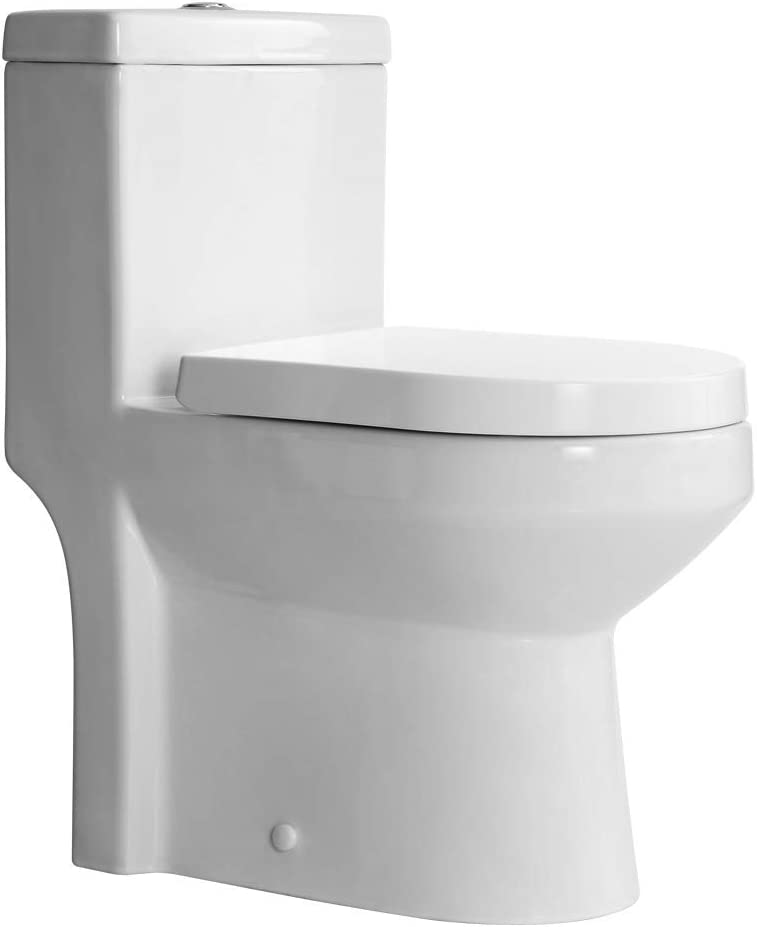 """HOROW HWMT-8733S Small Toilet 25"""" Long x 13.4"""" Wide x 28.4"""" High 1-Piece Short Compact Bathroom Tiny Mini Commode Water Closet Dual Flush Concealed Trapway - -"""