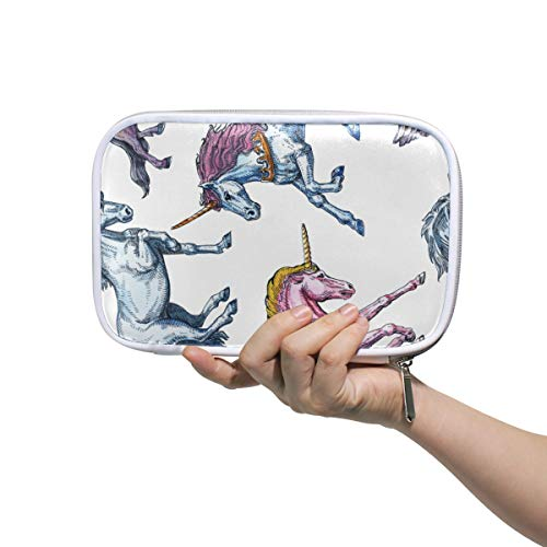 Mr.XZY Cute Unicorn Fairy Tale Character Design Multifunction Pencil Pen Bags Hand Painted Fresh Style Leather Portable cosmetic bag Stationery Organizer with Zipper for Student 2011690