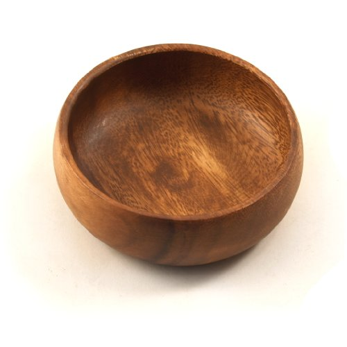 Pacific Merchants Acaciaware Natural Acacia Wood Round Calabash Bowl, 4-Inch, Set of 4
