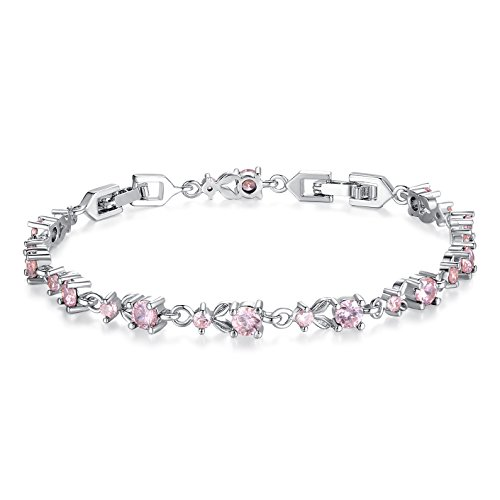 WOSTU Women Tennis Bracelets Luxury White Gold Plated Bracelet with Sparkling Cubic Zirconia Xmas Gifts for - Leaf Zirconia Cubic Pink