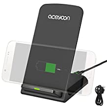 aceyoon QI Charging Pad Inductive Charger Station 3 Coils Wireless Anti-slip Charge Stand Power for Samsung Galaxy S5, S8 Plus S7 Edge, Nexus, Nokia Lumia QI-Enabled Devices BracketCharger for Android and iPhone