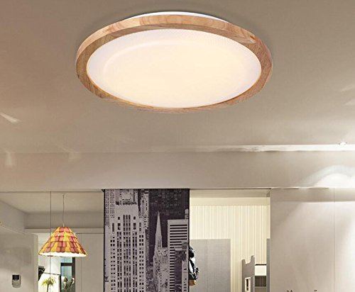 Nordic Circular Solid Wood LED Ceiling minimalist modern balcony aisle bedroom door wood ceiling lamp lu104220py ( Size : White light ) by Super PP