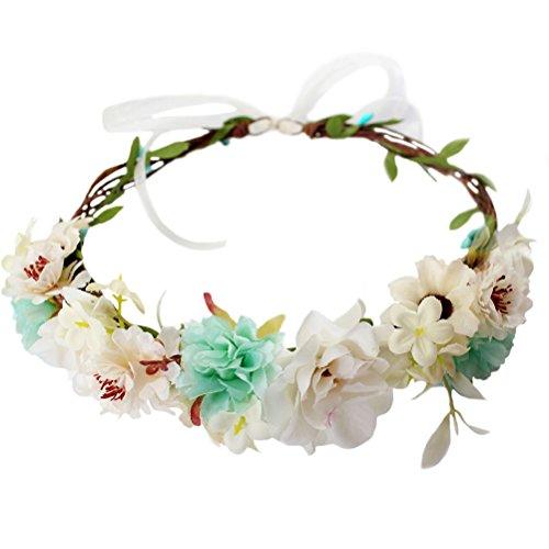 Vivivalue Handmade Flower Crown Hair Wreath Halo Floral Garland Headband Headpiece with Ribbon Boho Festival Wedding White by Vivivalue
