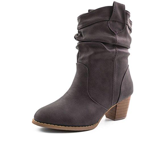 Boots Lederoptik Stiefel Western Stiefeletten Biker Damen ymvnwN0O8