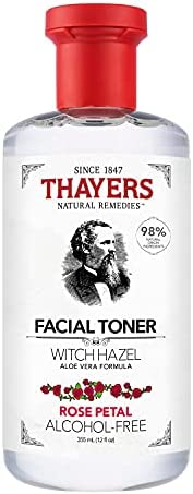 THAYERS Witch Hazel Rose Petal Face Toner, Natural, Alcohol Free with Aloe Vera, Hydrating and Refreshing for