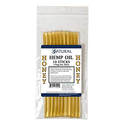 150mg Hemp Honey Sticks - 15mg Hemp Seed Oil per Stick - Delicious Hemp Honey Stick (10 Honey Sticks)