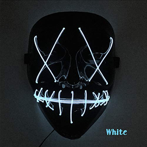 RONSHIN Creative Scary Halloween Mask Unique LED Light Up V-Shape Face Mask for Festival Cosplay Costume -