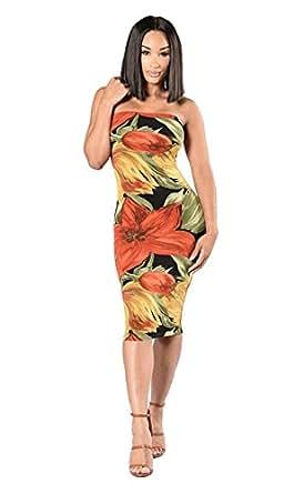 Novia's Choice Women Sexy Floral Print Bold Shoulder Tube Top