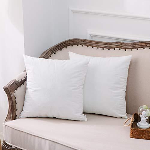 NATUS WEAVER 2 Pc Soft Velvet White Square Pillow Case Decorative Throw Cushion Cover Pillowcase with Hidden Zipper for Chair Car 20