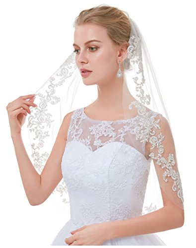 (AIBIYI Vintage 1 Tier Lace for Brides)