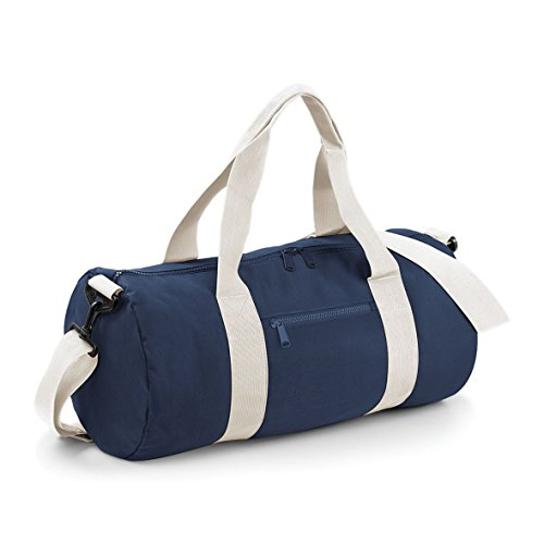 Bagbase 20 Liters Plain Gym Travel Outdoor Barrel Duffle Bag French Navy/Off White