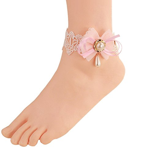 Wowlife Lovely Pink Bowknot Lace Ankle Ring Foot Sandal Beach Wedding Ankle Bracelet Women Girls Anklet Bracelet