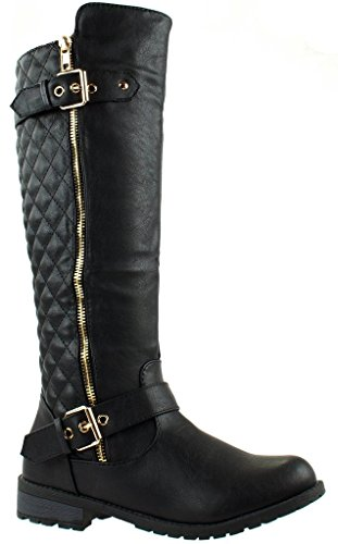 Women's MG21 Winkle Back Shaft - Side Quilted Zipper - Knee High Flat Accent Riding Boots Black 10