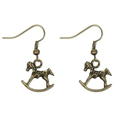 Tin Alloy Rocking Horse Drop Earrings - Antique Gold Tone ()