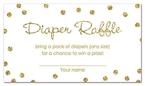 MyExpression.com 48 Gold Glitter Graphic Dots Diaper Raffle Cards Cards -