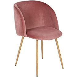 EGGREE Mid-Century Modern Velvet Accent Living Room Chair Upholstered Kitchen Armchair with Solid Steel Leg for Living Room Bedroom Reception Room Modern Furniture,Rose Pink