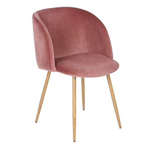 Mid-Century Velvet Accent Living Room Chair Upholstered Club Chair Armrest with Solid Steel Leg for Living Room Bedroom Reception Room Modern Furniture,Rose Pink (Chairs Accent Upholstered)