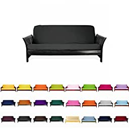 Colorful High Quality Futon Cover Slipcover (Black, Full (54x75 in.))