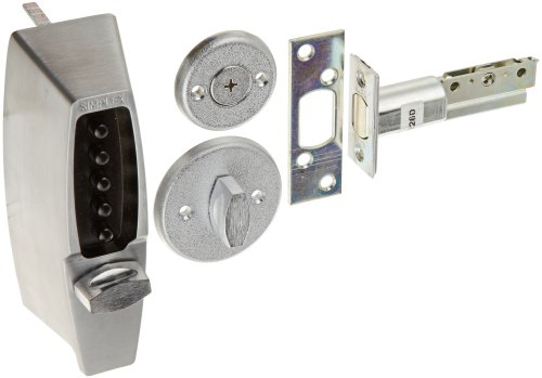 Kaba Simplex 7100 Series Metal Mechanical Pushbutton Auxiliary Lock with Thumbturn, 25mm Tubular Deadbolt, Flat Front Face Plate, 70mm Backset, Satin Chrome (Kaba Ilco Plate)