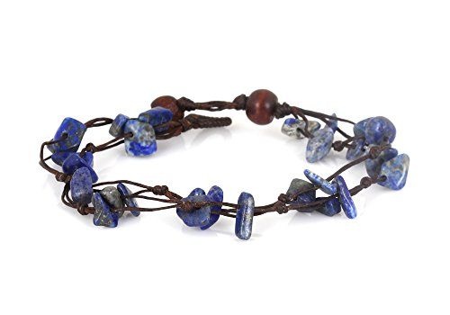 MGD, Navy Blue Lapis Lazuli Color Bead Bracelet, 2-strand. Beautiful Handmade Stone Wrap Bracelet made from wax cord. Fashion Jewelry for Women, Teens and Girls, JB-0058 -