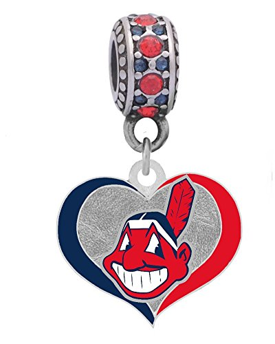 Final Touch Gifts Cleveland Indians Swirl Heart Charm Fits European Style Large Hole Bead Bracelets