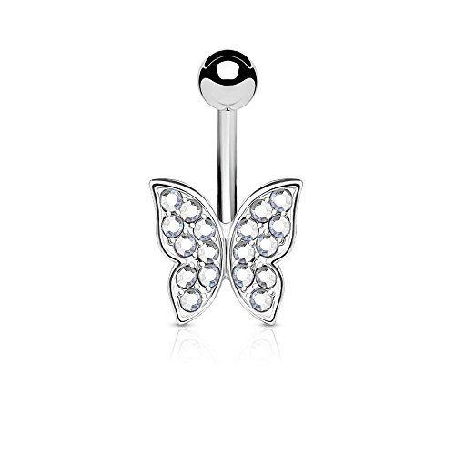 Belly Ring Butterfly Crystal - Covet Jewelry Crystal Paved Butterfly 316L Surgical Steel Belly Button Navel Rings (Clear)