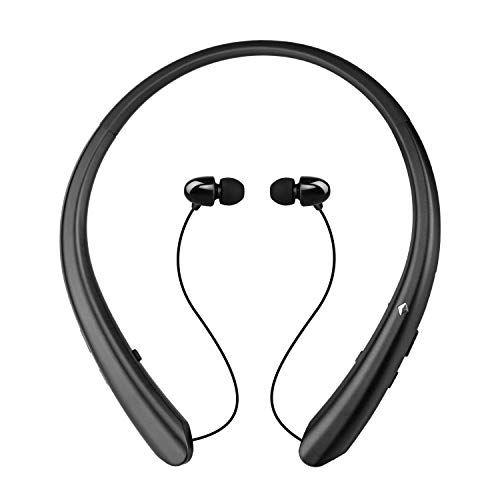 Wireless Neckband Headset, Retractable Headphones Wireless Earbuds Stereo Earphones W/Call Vibrate Alert & Voice Prompts, Noise Cancelling Built-in Mic (Black)