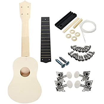M Y Fly Young DIY Ukulele Unfinished Hawaiian Guitar Kit Basswood Body Fingerboard Neck