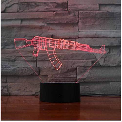 3D Led 7 Colores Que Que Que Cambian El Botón Táctil Usb Machine Gun Molding Night Light Lámpara De Escritorio Sala De Estar Decoración Accesorios De Iluminación Regalos d111d6