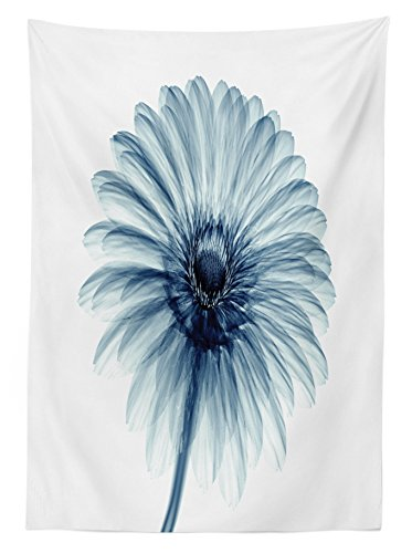 "Ambesonne Flower Tablecloth, Photo of a Daisy Flower with X-Rays Different Look to The Plants in Nature Art Print, Dining Room Kitchen Rectangular Table Cover, 60"" X 84"", White Teal"