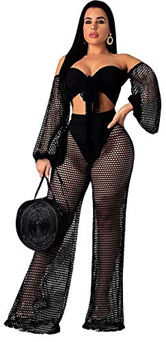Speedle Women Fishnet Mesh See Through Bandeau Crop Top + Eyelet Long Wide Leg Pants 2 Piece Outfits Black ()