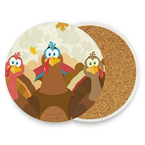 LoveBea Cartoon Turkeys Coasters, Protection for Granite, Glass, Soapstone, Sandstone, Marble, Stone Table - Perfect Wood Coasters,Round Cup Mat Pad for Home, Kitchen Or Bar Set of 4 for $<!--$20.99-->