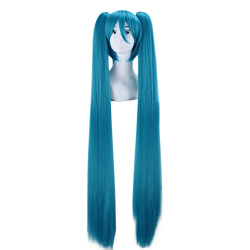 Price comparison product image Long Straight Hatsune Miku Wig Vocaloid Wig 120cm Ponytail Cosplay Wigs (Blue)