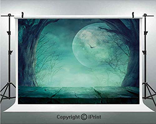 Halloween Decorations Photography Backdrops Spooky Forest Moon and Vain Branches Mystical Haunted Horror Rustic Decor,Birthday Party Background Customized Microfiber Photo Studio Props,8x8ft,Teal -