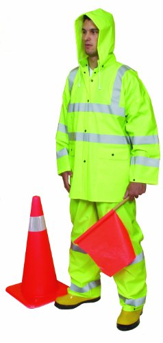(Mutual 14511 3 Piece PVC/High Visibility Polyester ANSI Class 3 Rain Suit, Large,)