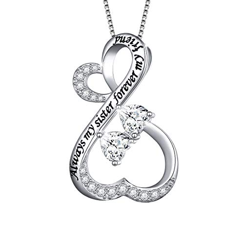 Inspired Heart Necklace Silver (DAOCHONG Sterling Silver Sisters Infinity Love Heart Necklace Engraved Always My Sister Forever My Friend Gift for Sister (Infinity Heart 18