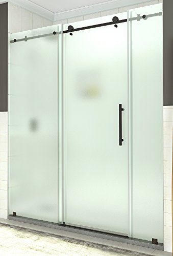 "Aston SDR984F-ORB-72-10 Coraline 68"" to 72"" x 76"" Completely Frameless Sliding Shower Door in Frosted Glass, Oil Rubbed Bronze"
