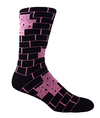 MOXY Socks Black with Pink Another Brick in the Wall Premium Skater Crew Socks