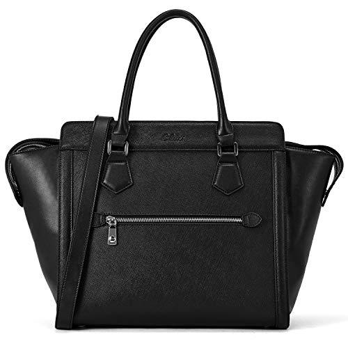 Womens Handbags and Purses Genuine Leather Designer Tote Ladies Satchel Top Handle Shoulder Bags Black
