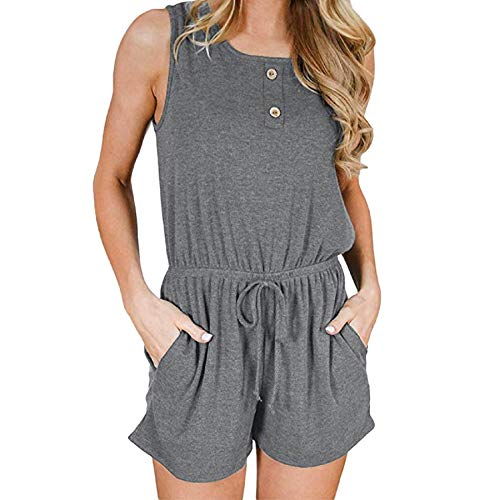 (Summer Women Bandage Jumpsuits,ANKOLA Vest Tank Top Casual Playsuit Short Pants Rompers Button with Pockets Gray)