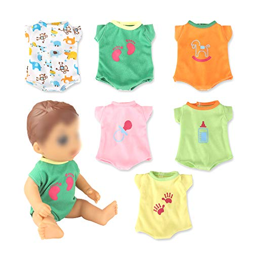 WakaoFeeling 6 Pack Fun Outfits Baby Doll Clothes for 12 Inch Baby Doll , Accessories Clothing for Alive Baby Doll 12 Inch