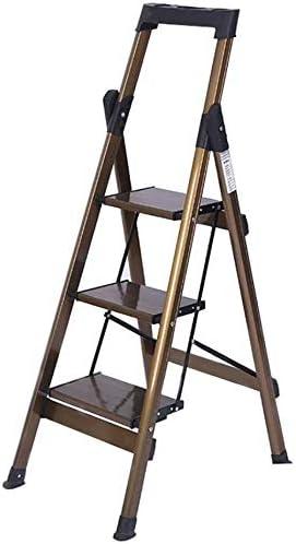 JLDN Escalerilla, 3 Peldaños Escalera Plegable Escalera de Tijera de Aluminio con Apoyabrazos Resistente y Ancha Antideslizantes Portable Heavy Duty,A: Amazon.es: Hogar