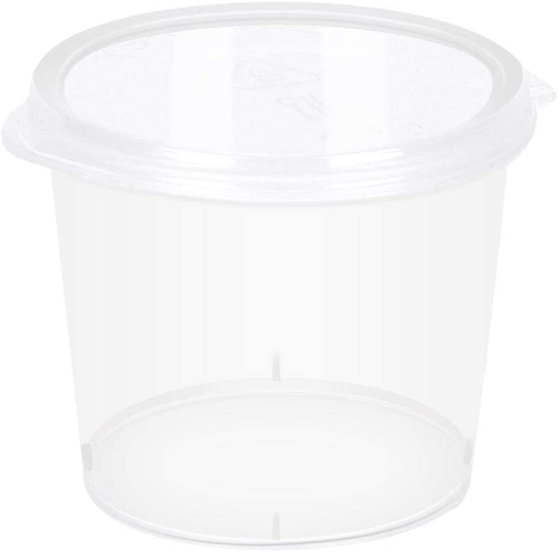 Plastic Disposable Portion Cups Souffle Cup with Lids Leak-proof Clear Thicken Storage Container Storage Box Slime, 1-Ounce, 100-Pack