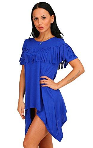 Aecibzo Casual Tunique Lâche Manches Courtes Irrégulière De Base Des Femmes T-shirt Bleu Robe