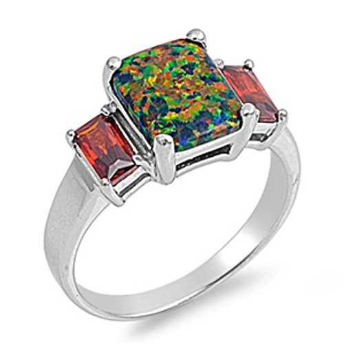 - Blue Apple Co. Three Stone Engagement Ring Emerald Cut Lab Created Black Opal Simulated Garnet 925 Sterling Silver