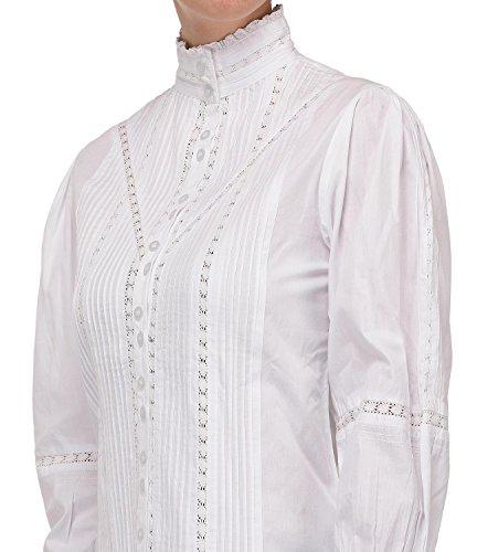 Manica Cotton Bianca Vittoriana Lane Camicetta Lunga wZrZIq
