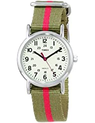Timex Womens T2N917 Weekender Watch with Olive Green and Red Nylon Strap