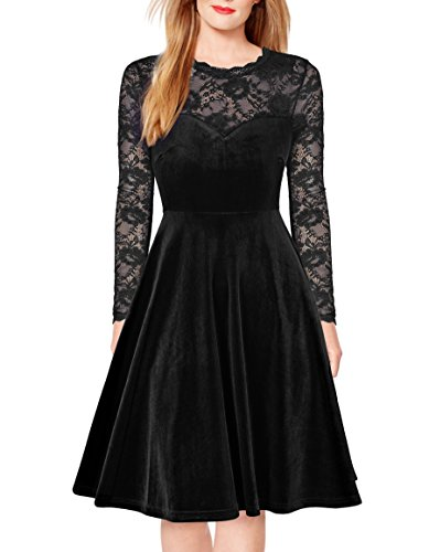 FORTRIC Women Vintage Floral Lace Long Sleeve Cocktail Party Formal Swing Dress Black S by FORTRIC